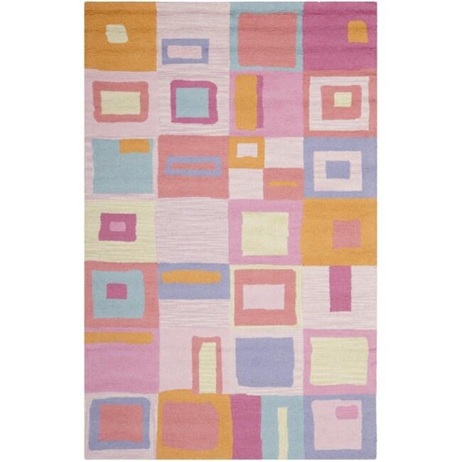 Safavieh Handmade Children's Squares New Zealand Wool Rug (5' x 8')