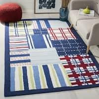 Safavieh Handmade Children's Matrix Blue New Zealand Wool Rug (4' x 6') - 4' x 6'