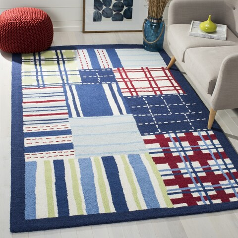 Safavieh Handmade Children's Matrix Blue New Zealand Wool Rug - 7' x 7' Square