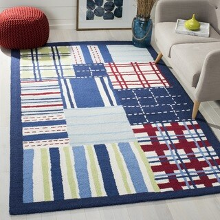 Safavieh Handmade Children's Matrix Blue New Zealand Wool Rug (7' Square)