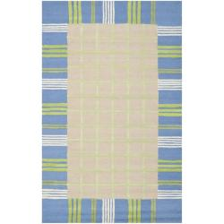 Safavieh Handmade Children's Plaid Beige New Zealand Wool Rug (4' x 6')