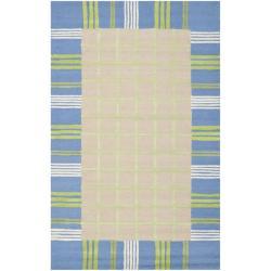 Safavieh Handmade Children's Plaid Beige New Zealand Wool Rug (8' x 10')