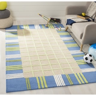 Safavieh Handmade Children's Plaid Beige New Zealand Wool Rug (7' Square)