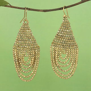 Handcrafted Goldtone Beaded Drape Earrings (India)