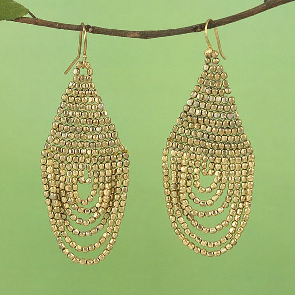 Handcrafted Goldtone Beaded Drape Earrings (India)