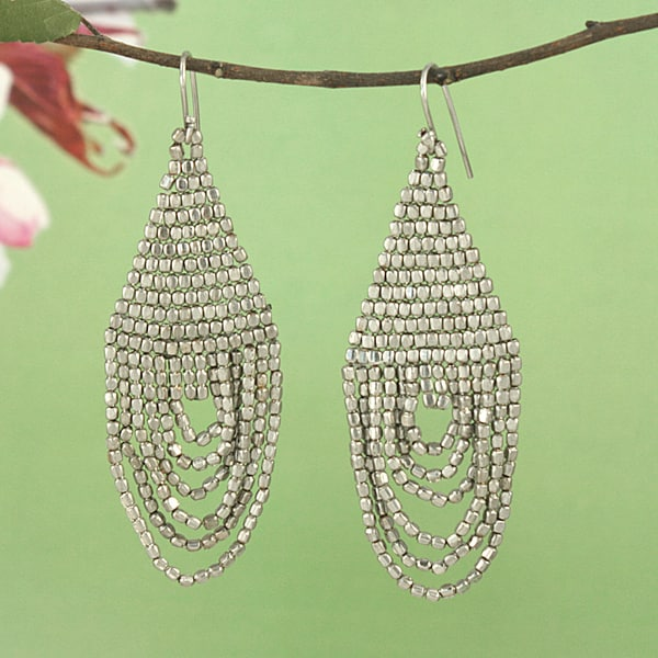 Handcrafted Silvertone Beaded Drape Earrings (India)