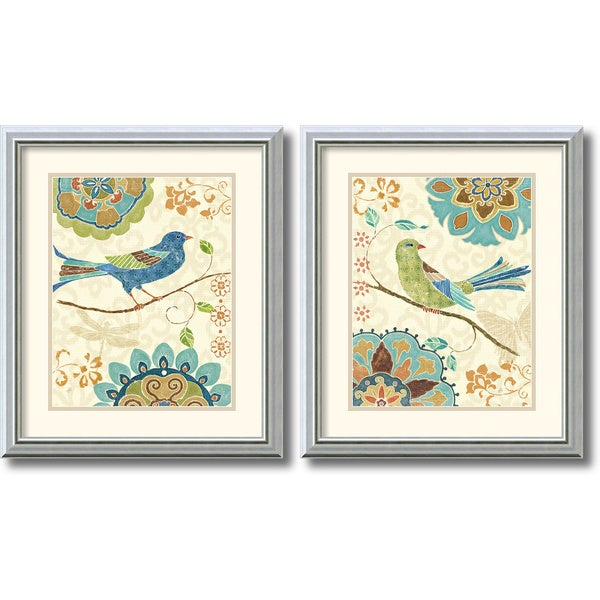 Daphne Brissonnet 'Eastern Tale Birds' 2-piece 17 x 20-inch Framed Art Print