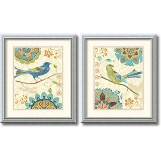 Daphne Brissonnet 'Eastern Tale Birds' 2-piece 17 x 20-inch Framed Art Print