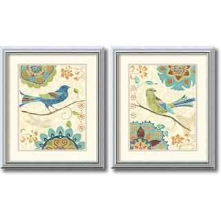 Framed Art Print 'Eastern Tale Birds - set of 2' by Daphne Brissonnet 17 x 20-inch Each|https://ak1.ostkcdn.com/images/products/7026297/Daphne-Brissonnet-Eastern-Tale-Birds-Framed-Art-Print-Set-of-2-17-x-20-inch-each-P14531188.jpg?_ostk_perf_=percv&impolicy=medium