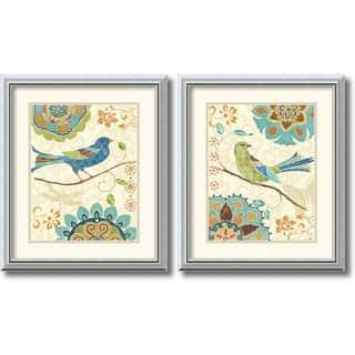 Framed Art Print 'Eastern Tale Birds - set of 2' by Daphne Brissonnet 17 x 20-inch Each|https://ak1.ostkcdn.com/images/products/7026297/Daphne-Brissonnet-Eastern-Tale-Birds-Framed-Art-Print-Set-of-2-17-x-20-inch-each-P14531188.jpg?impolicy=medium