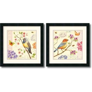 Daphne Brissonnet 'Birds and Bees' 2-piece 18 x 18-inch Framed Art Print