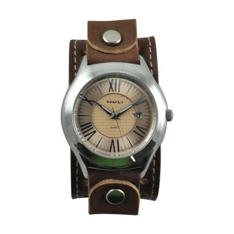 Nemesis Men's Japanese Quartz Roman Casual Leather Strap Watch