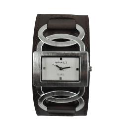 Nemesis Women's Stainless-Steel Cross Arc Watch with Brown Strap