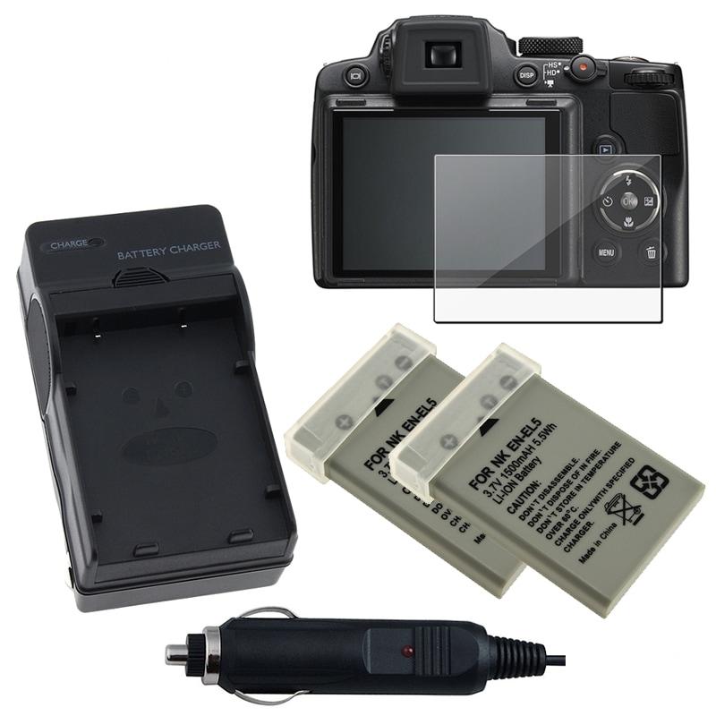 INSTEN Battery/ Charger Set/ LCD Protector for CP1 EN-EL5/ Nikon Coolpix P500