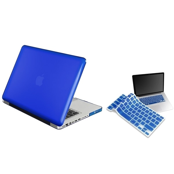 INSTEN Clear Dark Blue Laptop Case Cover/ Blue Keyboard Skin for Apple MacBook Pro 13-inch