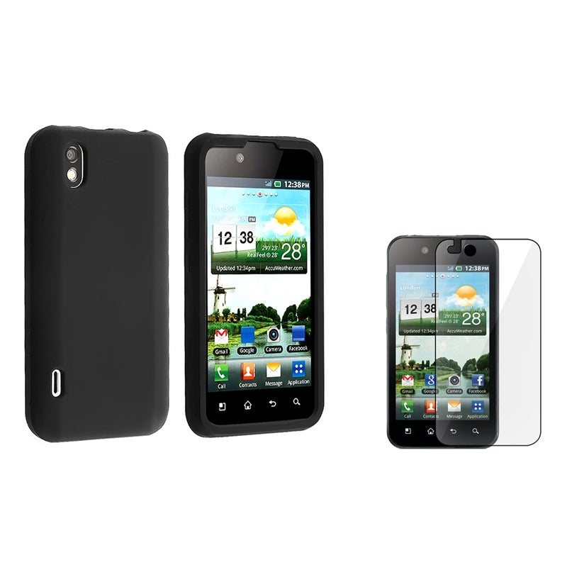 INSTEN Black Soft Silicone Phone Case Cover/ Protector for LG Marquee LS855 Optimus Black P970