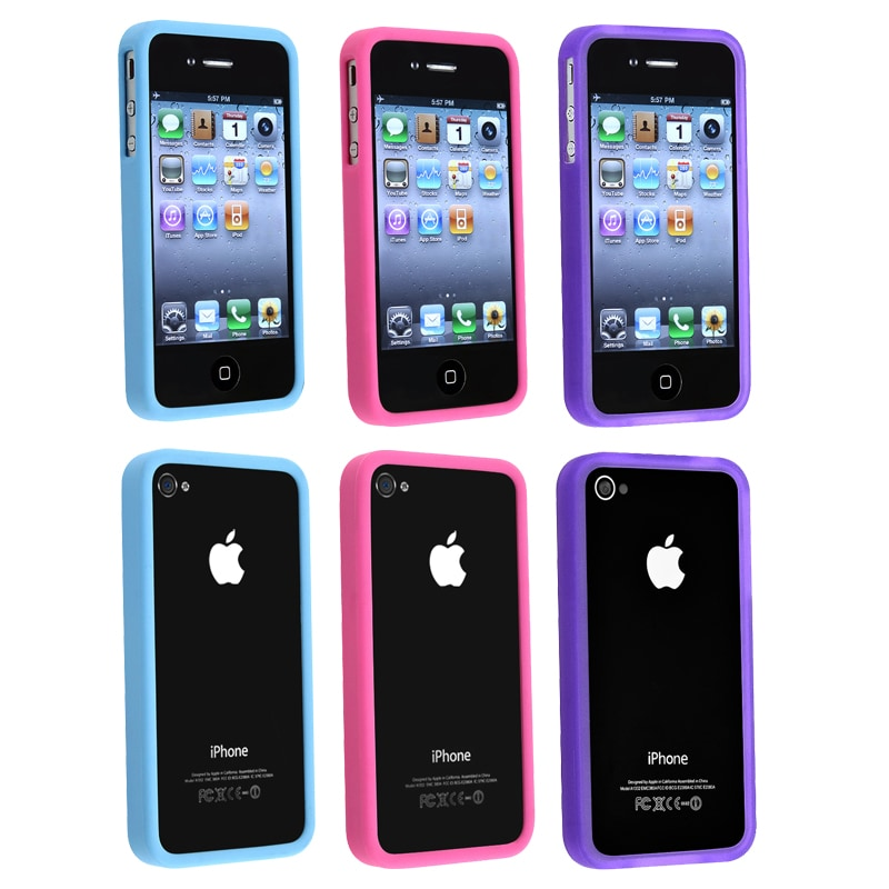 Pink/ Purple/ Blue TPU Rubber Cases for Apple iPhone 4/ 4S