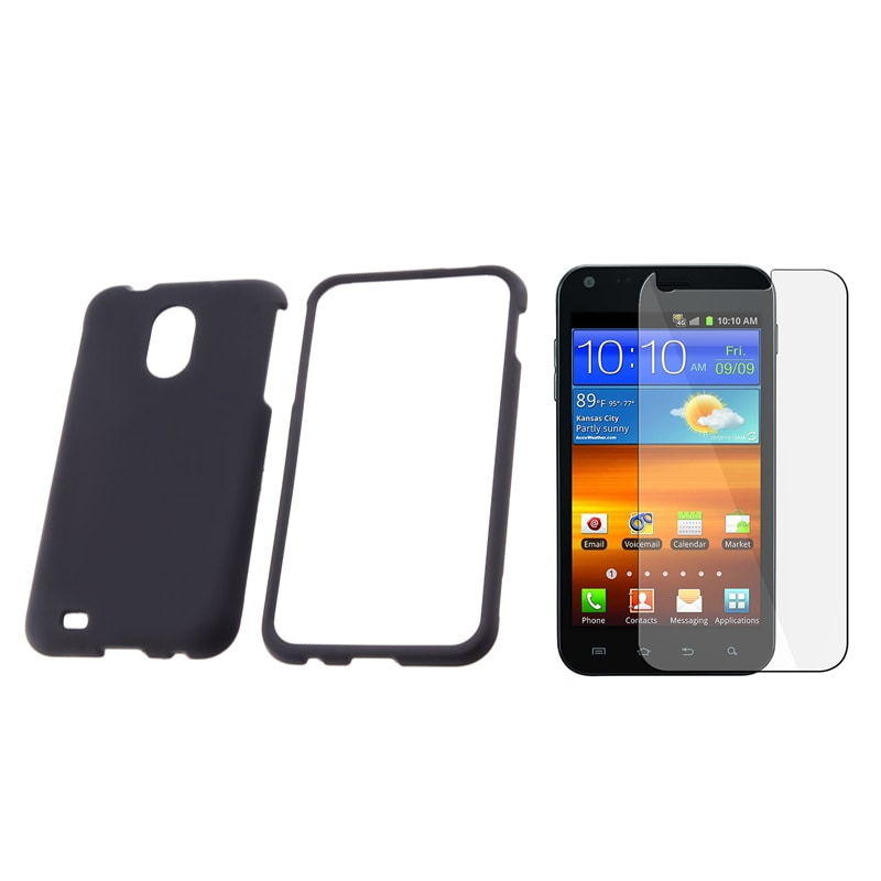 Black Case/ Screen Protector for Samsung Epic Touch 4G/ Galaxy S II