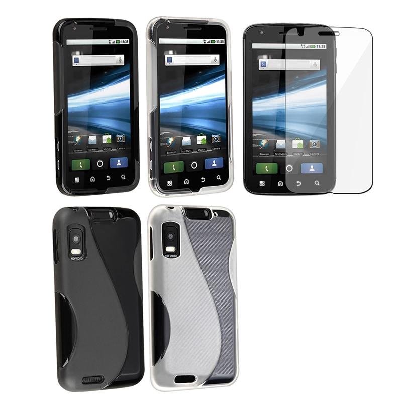 INSTEN Black TPU/ White TPU Phone Case Cover/ Protector for Motorola Atrix 4G MB860