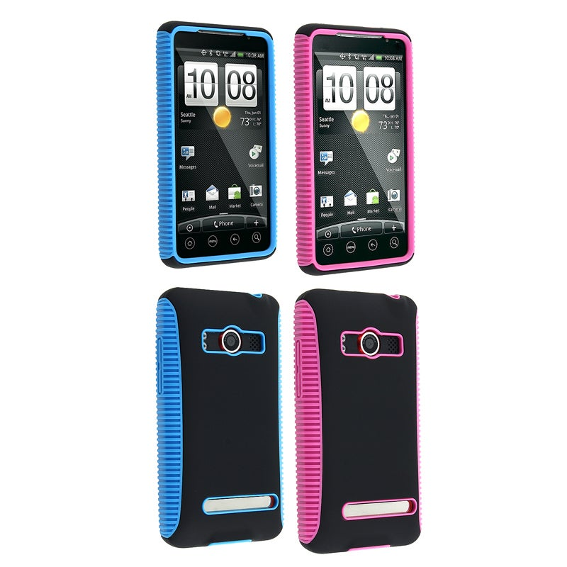 Pink/ Black Hybrid Case/ Blue/ Black Hybrid Case for HTC EVO 4G