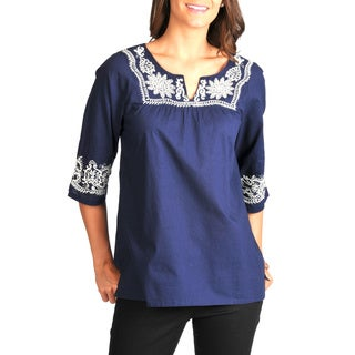 La Cera Women's Embroidered 3/4 Sleeve Top (2 options available)