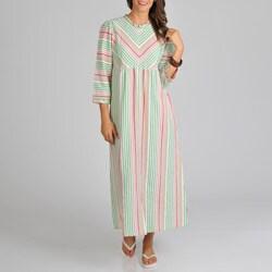 La Cera Women's Cotton Seersucker Zip Front Stripe Cover-Up