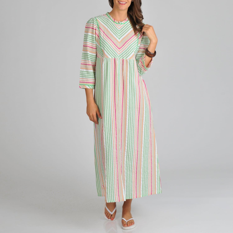 La Cera Women's Cotton Seersucker Zip Front Stripe Cover-...