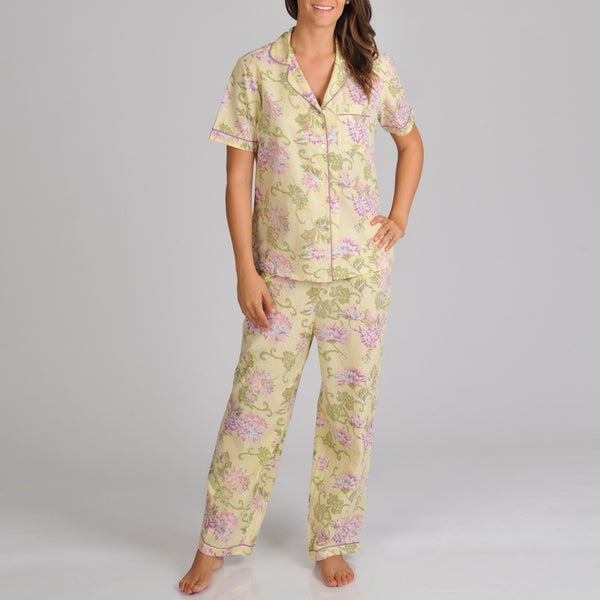 La Cera Women's Yellow Button Front Print Pajama Set