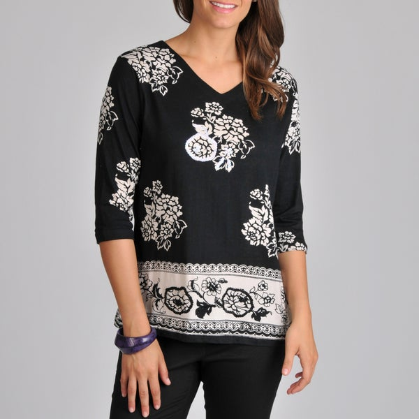 La Cera Women's 3/4-sleeve V-neck Floral Tunic