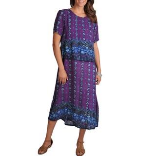 La Cera Women's Purple Print Short-sleeve Popover Dress
