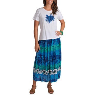 La Cera Women's Tropical Top and Skirt 2-piece Set