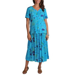 La Cera Women's Button-front Woven Floral Top and Skirt 2-piece Set (3 options available)