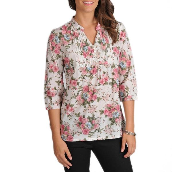 La Cera Women's 3/4-Sleeve Pink Floral Pintuck Cotton Tunic