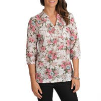 La Cera Women's 3/4-Sleeve Pink Floral Pintuck Cotton Tunic