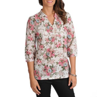 La Cera Women's 3/4-Sleeve Pink Floral Pintuck Cotton Tunic (3 options available)