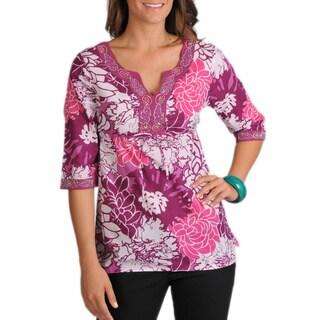 La Cera Women's 3/4-sleeve Drawstring Cotton Floral-print Tunic Top