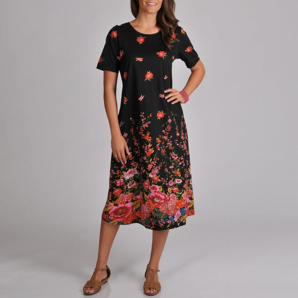 La Cera Women's Short-sleeve Black Floral Print A-line Dress