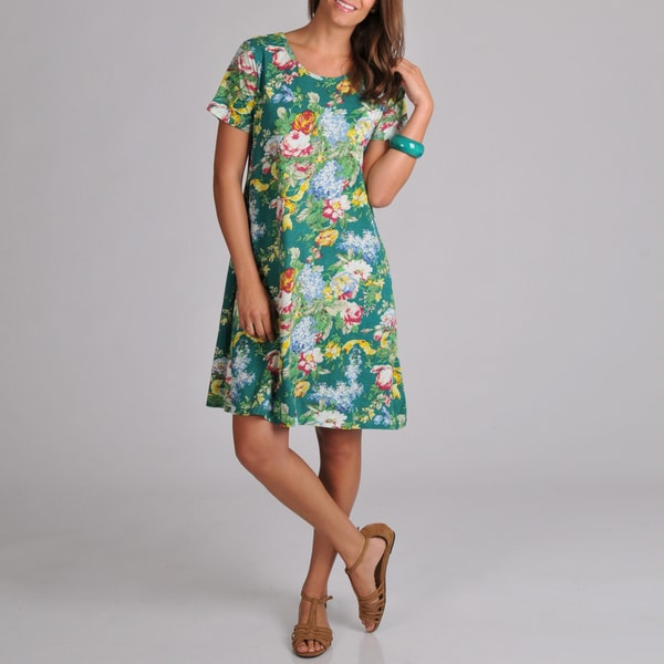 La Cera Women's Short-sleeve Teal Floral-print Knit Short Dress