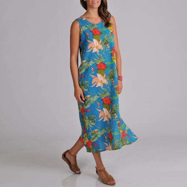 La Cera Women's Sleeveless Side-button Floral-print Dress
