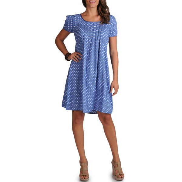 La Cera Women's Short Sleeve Dress With Pleated Front and Sleeve