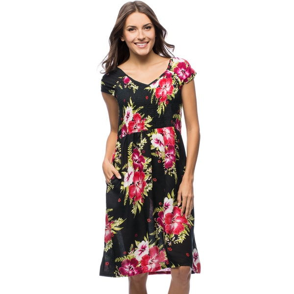 La Cera Women's Smocked-Bodice Sleeveless Floral Sundress