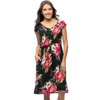 La Cera Women's Smocked-Bodice Sleeveless Floral Sundress|https://ak1.ostkcdn.com/images/products/7026482/P14531303.jpg?impolicy=medium