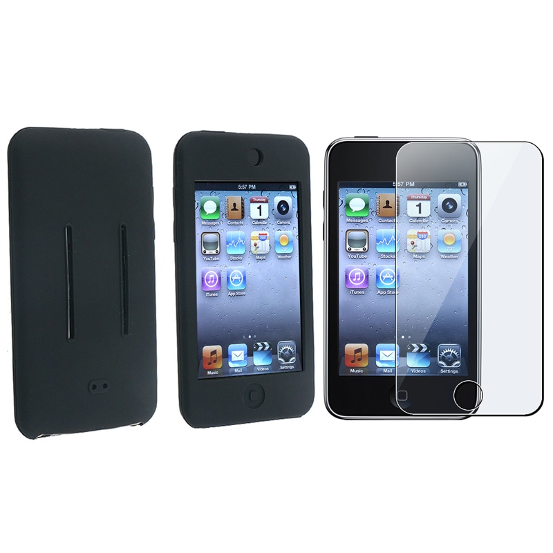 INSTEN Black Silicone Case Cover/ Protector for Apple iPod Touch Generation 1/ 2/ 3