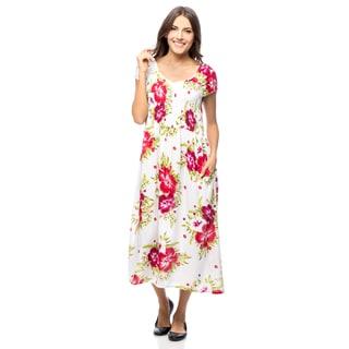 La Cera Women's Smocked Bodice Sleeveless Sundress