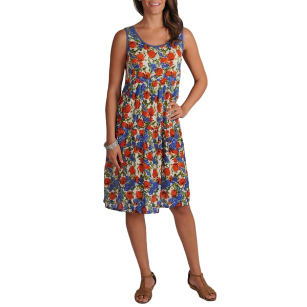 La Cera Women's Crinkle Printed Sleeveless Dress