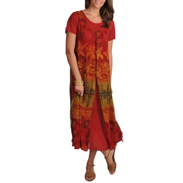 La Cera Women's Short Sleeve Scoop Neck Solid Dress With Apron Overlay