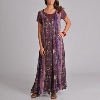 La Cera Women's Short Sleeve Solid Dress With Apron Overlay
