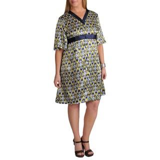 La Cera Women's Plus Size Printed Charmeuse Lounger