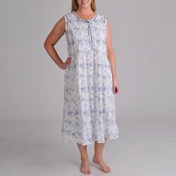 La Cera Women's Plus Size Sleeveless Print Night Gown With Ribbon Trim