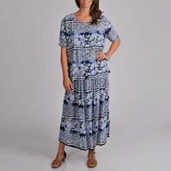 La Cera Women's Short Sleeve Crinkle Skirt Set